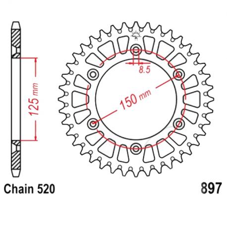 13568 Corona 38 Denti Passo 520 Ktm Argento